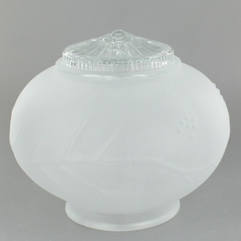 Frosted Glass Ball with Floral Print and 3-1/4in. Neck
