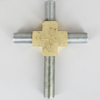 1/4ips Threaded - 4 Way Rounded Brass Cross Armback - Unfinished Brass