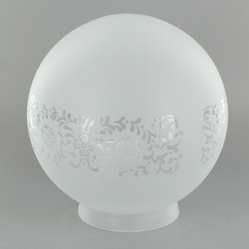 6in Diameter Frosted Decorated Glass Globe with 3-1/4in. Neck