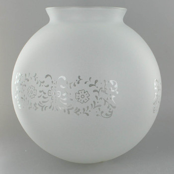 8in Diameter Frosted Decorated Glass Globe with 4in. Neck
