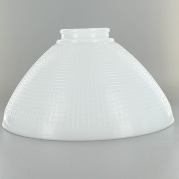 10in. Top IES Glass Shade with Waffle Pattern and 3in. Neck