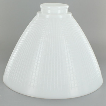 8in. Top IES Glass Shade with Waffle Pattern and 2-1/4in. Neck