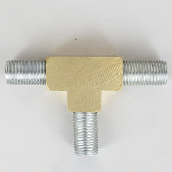 1/4ips Threaded - Rounded Brass Union Tee Armback - Unfinished Brass