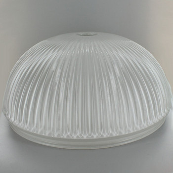 12-1/2in Ribbed Glass Fixture with White Painted Interior and 12in. Neck - 7/16in. Center Hole