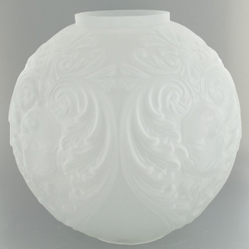 10in. Frosted Open Ball with Embossed Cherub Design and 4in. Neck
