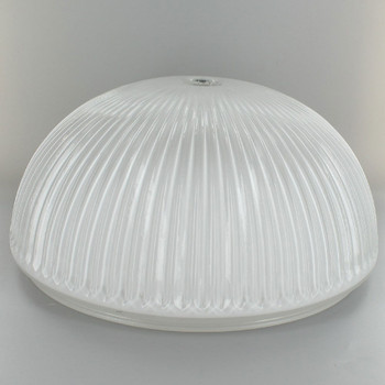 10-1/2in Ribbed Glass Fixture with White Painted Interior and 9-3/4in. Neck - 7/16in. Center Hole