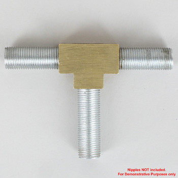 1/8ips Threaded - Geometric Style Tee Armback - Unfinished Brass