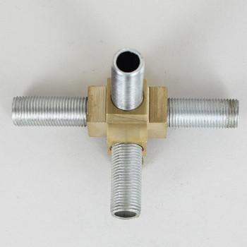 1/8ips Threaded - 3 Side 4-Way Corner Armback - Unfinished Brass
