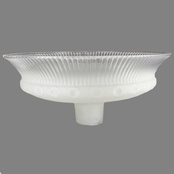 16in. Frosted with Clear Top Ribbed Victorian Torchiere Shade with 2-3/4in. Neck