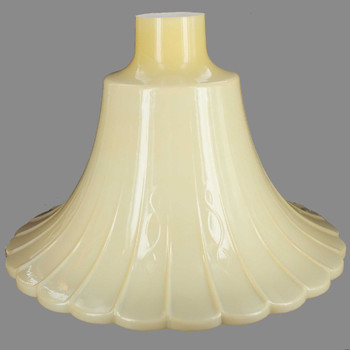 Buff Color Hand Blown Scallop Torchiere Shade with 2-3/4in. Neck