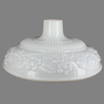 14-1/2in. Opal White with Embossed Flower Torchiere Shade with 2-3/4in. Neck
