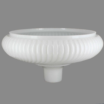 14in. Opal White Ribbed Swirl Torchiere Shade with 2-3/4in. Neck