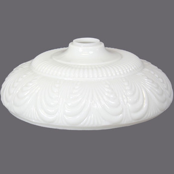 14-1/2in. Opal White Draped Torchiere Shade with 2-3/4in. Wide Short Neck