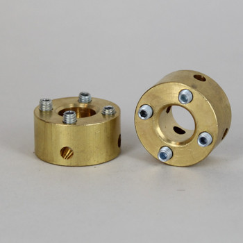 Unfinished Brass 4 Hole Spider Washer with Set Screws and 1/8ips. Slip Through Center Hole