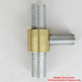 1/4ips X 1/8ips - 3/4in Tee Fitting Straight Armback - Unfinished Brass