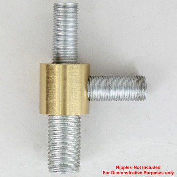 1/4ips X 1/8ips - 3/4in Diameter Tee Fitting Straight Armback - Unfinished Brass
