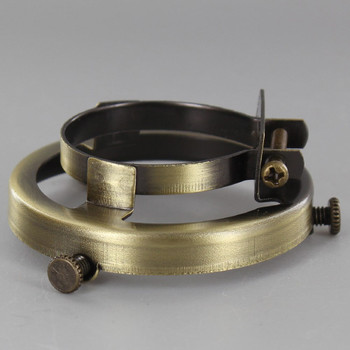 2-1/4in. Antique Brass Finish Clamp On Socket Shade Holder for Metal Shell Sockets