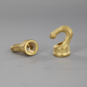 1/8ips. Female Threaded -  Baby Hook with Wire Way - Unfinished Brass