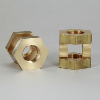 3/8ips Threaded Cast Brass Hex Hickey Measures 1-23/28in Height X 1-1/4in Wide