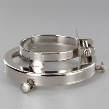 2-1/4in. Polished Nickel Finish Clamp On Socket Shade Holder For Metal Shell Sockets