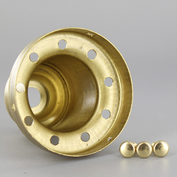 2-1/4in Deep Vented Holder with Screws - Unfinished Brass