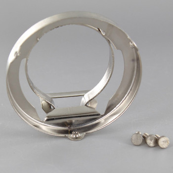 2-1/4in. SATIN NICKEL FINISH CLAMP ON HOLDER FOR PORCELAIN SOCKET WITH LIP