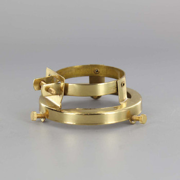 2-1/4in. POLISHED BRASS FINISH CLAMP ON HOLDER FOR PORCELAIN SOCKET WITH LIP