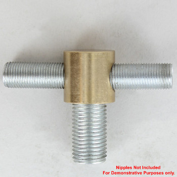 1/4ips X 1/8ips Threaded - 3/4in Diameter Tee Fitting Straight Armback - Unfinished Brass