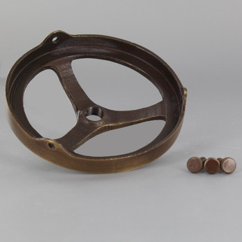 3-1/4in. Antique Brass Finish Cast Brass Spoked Holder with 1/8ips. Female Thread Center Hole