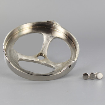 3-1/4in. Polished Nickel Finish Cast Brass Spoked Holder with 1/8ips. Female Thread Center Hole