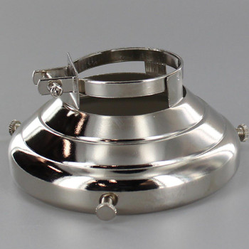 3-1/4in Fitter Polished Nickel Finish Clamp On Holder for Porcelain Socket with Lip