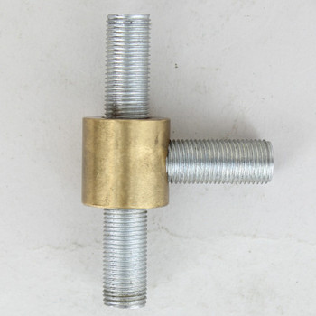 1/8ips Threaded - 3/4in x 3/4in Tee Fitting Straight Armback - Unfinished Brass