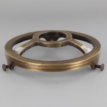 4in. Antique Brass Finish Cast Brass Uno Threaded Shade Holder