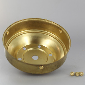 4in. Unfinished Brass Vented Shade Holder with 1/8ips. Slip Through Center Hole