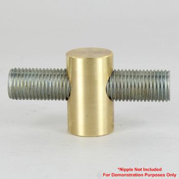 1/4ips Threaded - 7/8in Diameter Tee Fitting Straight  Armback - Unfinished Brass