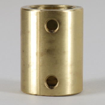 1/4 Slip Through x 1/8F Side with 2x 8/32 Set Screws - 3/4in O.D. x 1in Tall Unfinished Brass