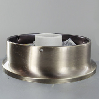 4in. Flush Antique Brass Plated Single Socket Holder
