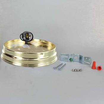 6in. Flush Brass Plated Single Socket Holder