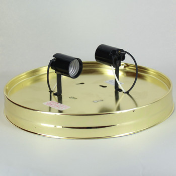 10in. Flush Brass Plated Finish Double Socket Holder