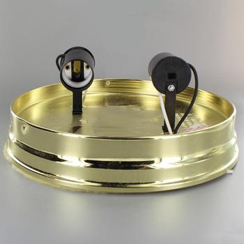 8in. Flush Brass Plated Double Socket Holder