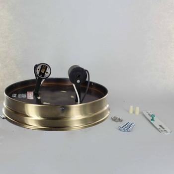 8in. Flush Antique Brass Plated Double Socket Holder