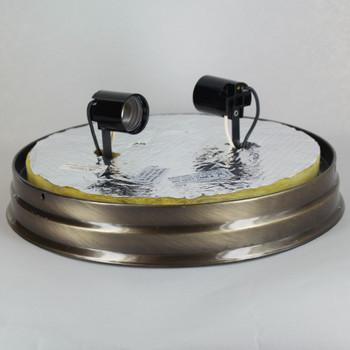 10in. Flush Antique Brass Plated Finish Double Socket Holder