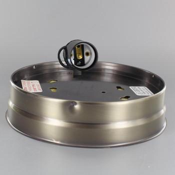 6in. Flush Antique Brass Plated Single Socket Holder