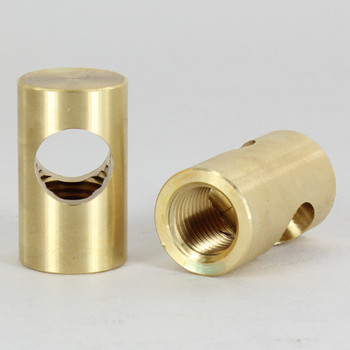1/4ips Threaded - 3/4in Diameter Tee Fitting Straight  Armback - Unfinished Brass