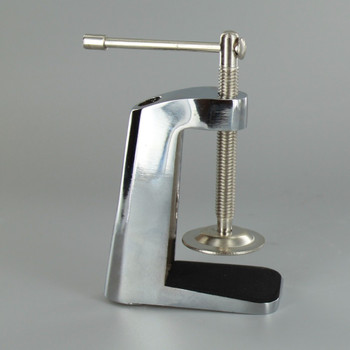 Polished Nickel Finish Desk and Table Clam Threaded for 1/8ips. Pipe