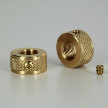 1/8-27 ips Diamond Knurled Round Locknut with Set-Screw - Unfinished Brass