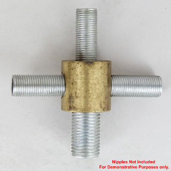 1/4ips X 1/8ips Threaded -  7/8in Diameter 4-Way Straight Armback - Unfinished Brass