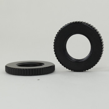 3/4in Diameter - 1/8ips Threaded Knurled Flat Brass Nut - Black Finish