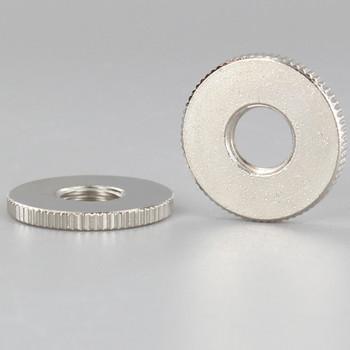 1in Diameter - 1/8ips Threaded Knurled Flat Brass Nut - Polished Nickel