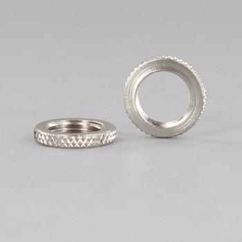5/8in Diameter - 1/8-27ips Threaded Knurled Brass Flat Locknut - Polished Nickel Finish